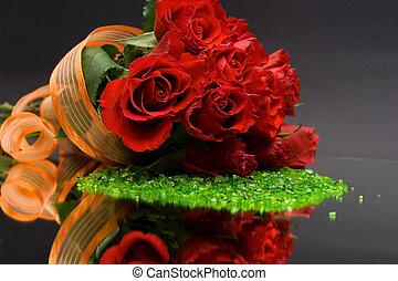 橙, 玫瑰, 肋骨, 紅色