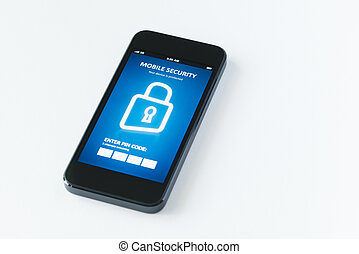 Mobile security app - Modern smartphone with mobile security...