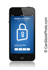 Mobile security concept - Modern smartphone with mobile...