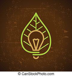 light bulb with leaf on grunge back
