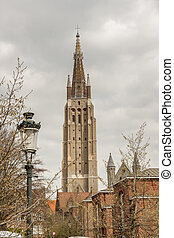 Tower of Our Lady Church - Brugge, Belgium. - View on Our...