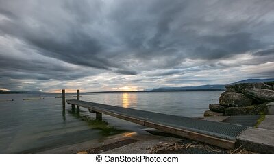Jetty Sunrise Time Lapse - Jetty sunrise time lapse at Lake...