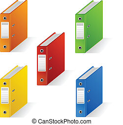 Set of colorful ring binders