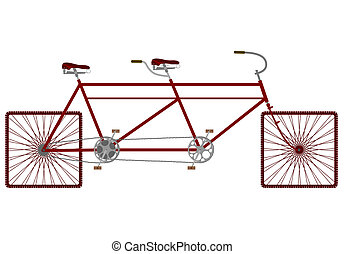 Tandem - Square wheels tandem bicycle