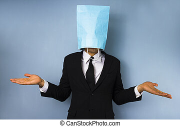 Businessman with bag over his head