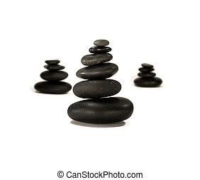Black stones - Lava massage stones in perfect exposition....