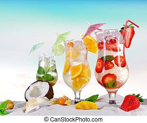 gelado, verão, bebidas