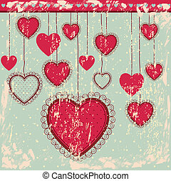 Heart hanging - heart hanging over blue background vector...