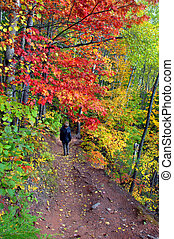 Autumn Path - Two women hike the Hungarian Falls trail on...