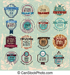 quality stamp - Quality stamp over vintage background vector...