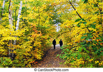 Hiking Hungarian Falls Trail - Two women walk the Hungarian...