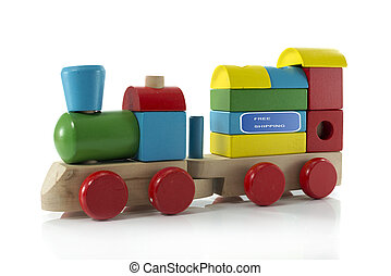free shipping - old toy train isolated on white background...