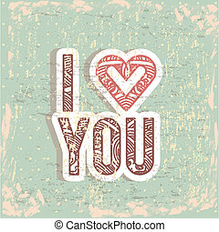 I love you - i love you card over blue background vector...