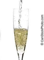 Champagne glass celebration - close up of an isolated glass...