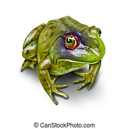 Environmental Damage And Conservation - Frog with a black...