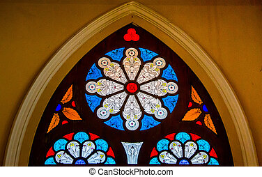 Colorful of stained glass in church