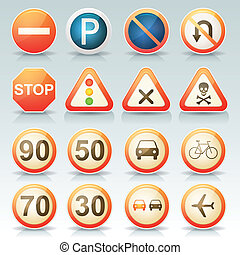 Road Signs Glossy Icons Set