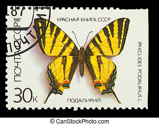 "USSR - CIRCA 1987: A stamp printed in USSR, shows Butterfly Iphiclides Podalirius , from series ""Red Book USSR"", circa 1987"