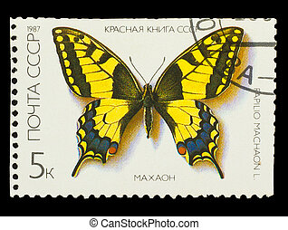 "USSR - CIRCA 1987: A stamp printed in USSR, shows Butterfly Papilio machaon , from series ""Red Book USSR"", circa 1987"