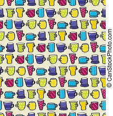 Drinking Mugs Seamless Background