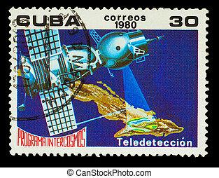 Cuba, -, hacia, 1980:, Un, estampilla, impreso, Cuba,...