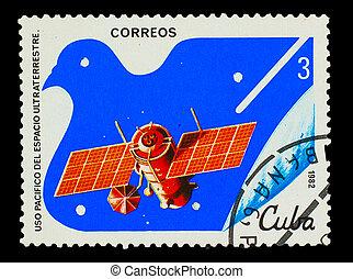 Cuba, -, hacia, 1982:, Un, estampilla, impreso, Cuba,...