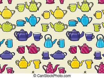 Mug and Teapot Seamless Background