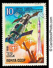 USSR-, hacia, 1981, estampilla, impreso, U.R.S.S., comienzo,...