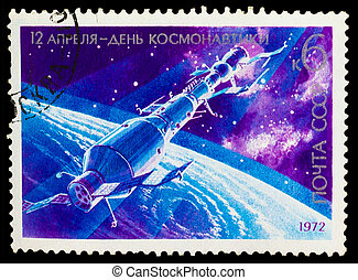 USSR - CIRCA 1978: stamp printed in USSR, day of space...