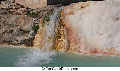 mineral waterfall in pamukkale turkey