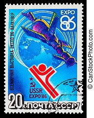 USSR-, hacia, 1986:, Un, estampilla, impreso, U.R.S.S.,...