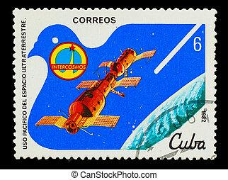 Cuba, -, hacia, 1982:, Un, estampilla, impreso, Cuba, unión...