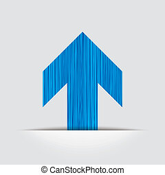 blue arrow upward direction with gray background