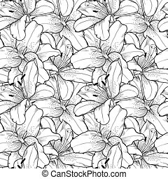 seamless background of black and white lilies hand-drawn