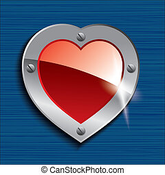 Glossy red heart on a metal plate