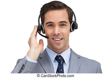 Smiling assistant with headset