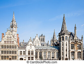 Ghent houses - Facade of houses along the Graslei in Ghent,...
