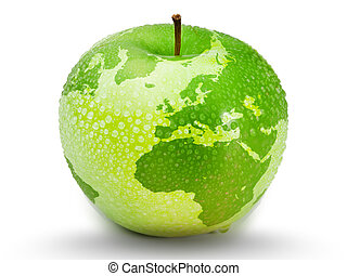 Green apple representing earth with drops on it on white...