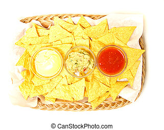 Tortilla chips with 3 kinds of dip