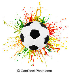Sport ball with colorful paint splashing