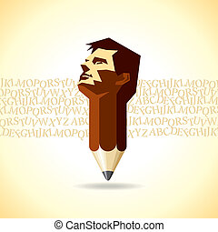 abstract vector pencil and man merge