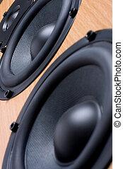 Sound speaker system - Wooden sound speaker system close up...