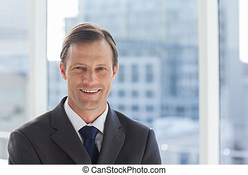 Smiling businessman in his office - Smiling businessman...