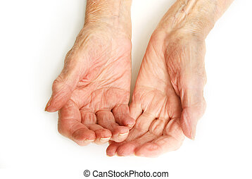 Old Lady's hands open - My mother at 90 years old with...