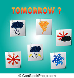 vector set of weather forcast icon on note paper