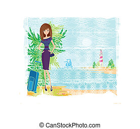 Grunge banner with palm trees and travel girl