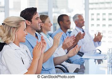 su, médico, equipo, Aplaudir, Manos