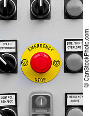Emergency button on a control panel