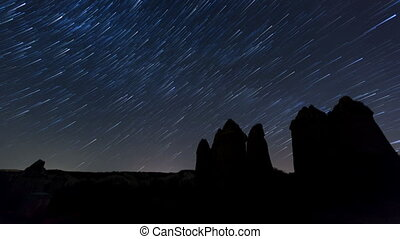 time lapse Cappadocia - time lapse cave house with star...