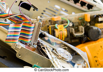 Old computer parts - Pile of Old computer parts and hard...